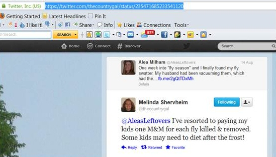 How to find the URL for a Twitter Tweet