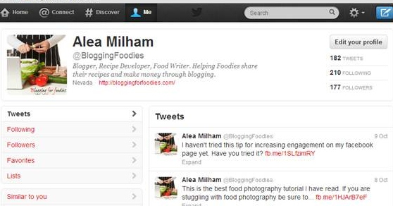 How a Food blogger Can use Twitter to Increase Page Views.